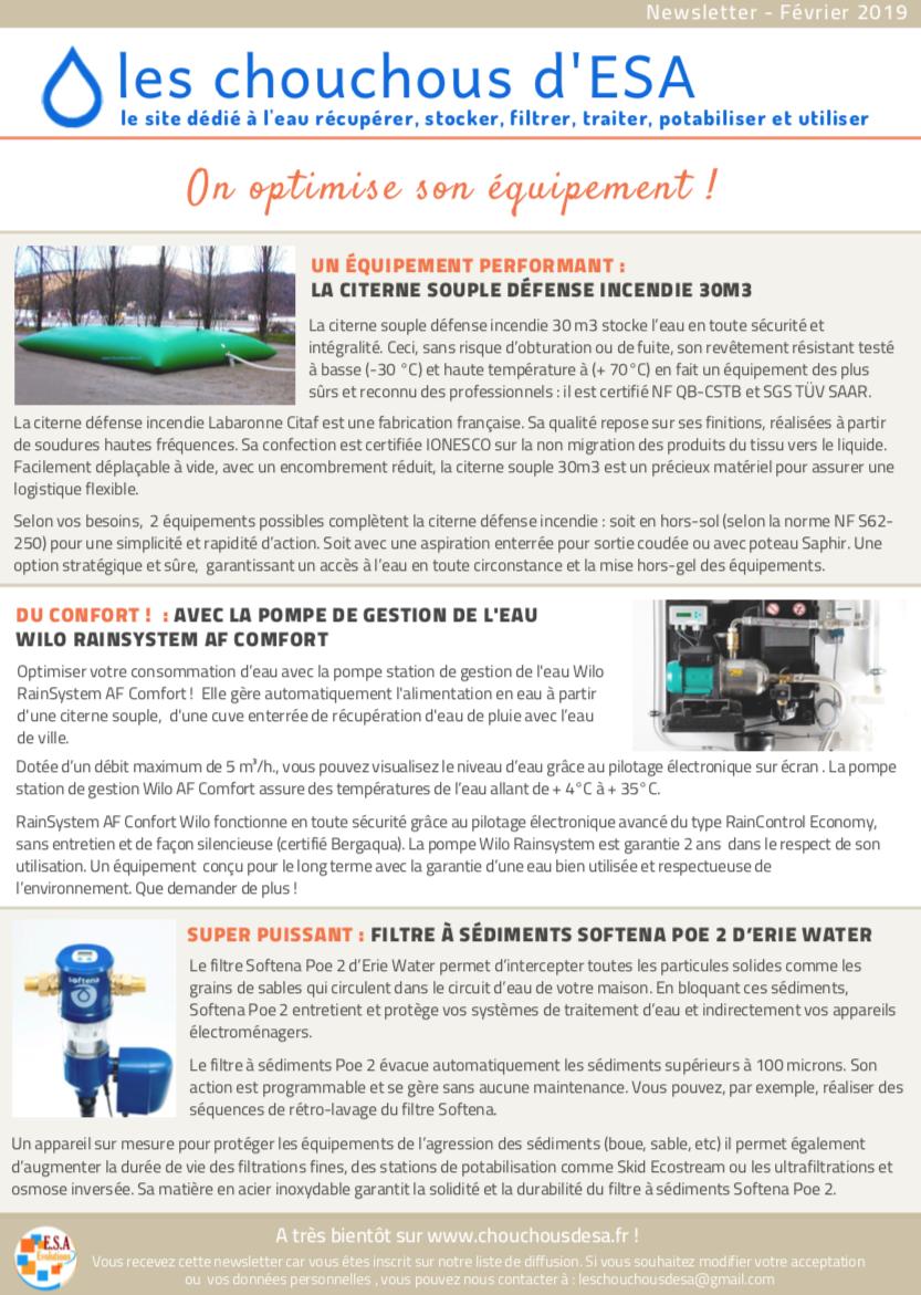 Newsletter Les Chouchous d'Esa - Février 2019